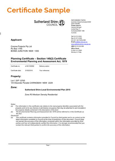 10.7 Planning certificate